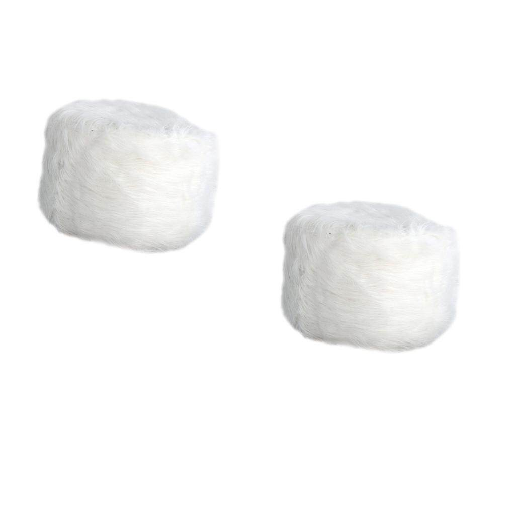 BolehDeals 2 Pcs Comfortable Stool Covers for Home Living Room Decorations White
