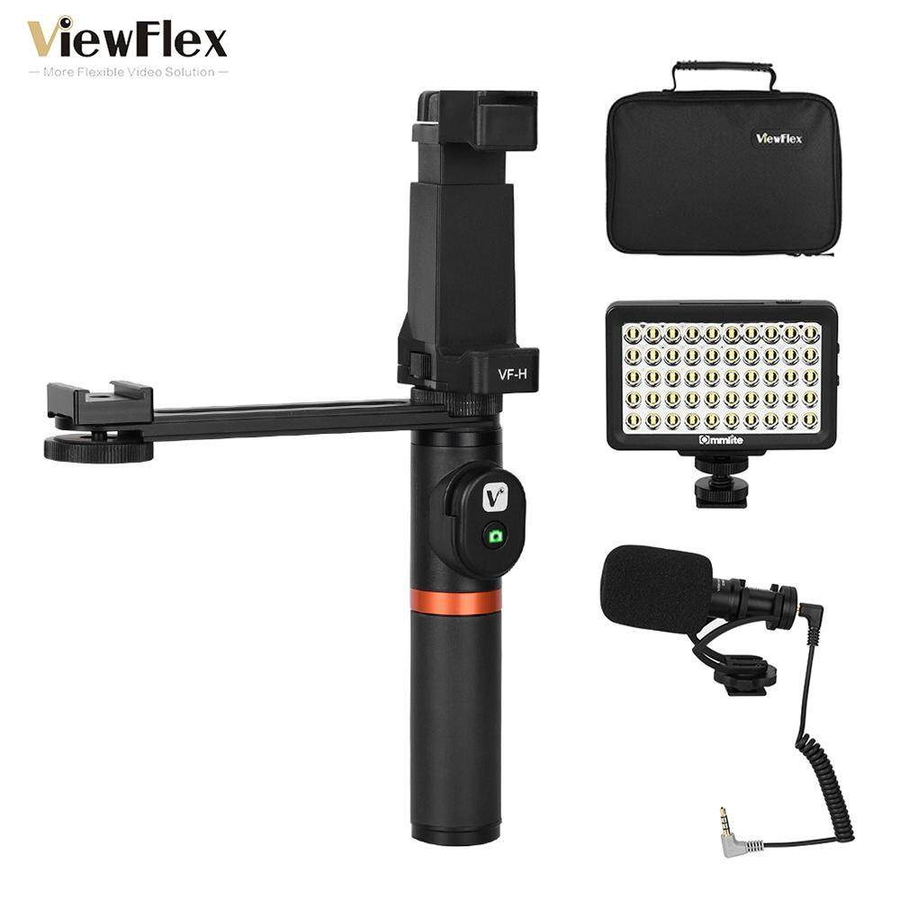 ViewFlex VF-H6 Smartphone Video Rig Hand Grip Handle Stabilizer Kit with Remote Control/ Light/ Video Microphone for iPhone 6 6s Plus for Samsung Galaxy S8+ S8 Note 3 Huawei