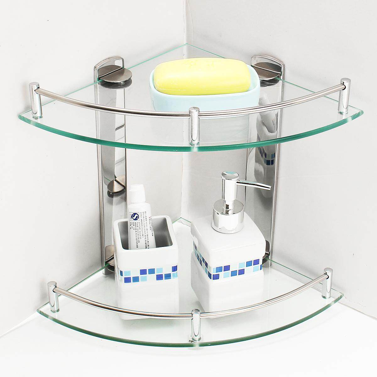 Bathroom Corner Shelf 2 Tier Shelves Glass Shower Wall Mounted Storage Shelving [25cm] By Audew.