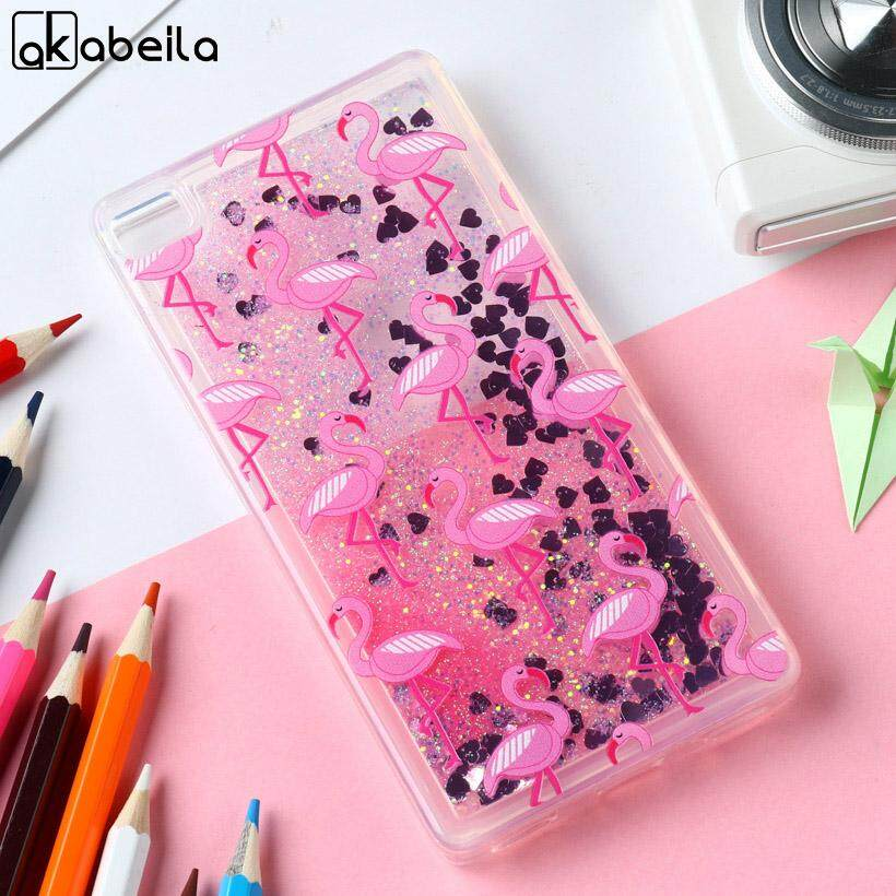 AKABEILA Flamingos Silicone Cases For Huawei P8 Lite P8 Mini P8lite ALE-L21 ALE-L04 ale l21 5.0 inch Covers Glitter Liquid Soft TPU PC Phone Case - intl
