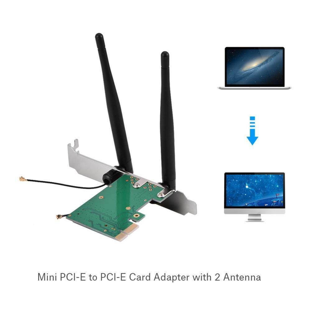 Hình ảnh Mini Pcie to Pcie Wireless Adapter Mini PCI-E to PCI-E Card Adapter with 2 Antennas for Half Size PCI Express Wireless Card - intl