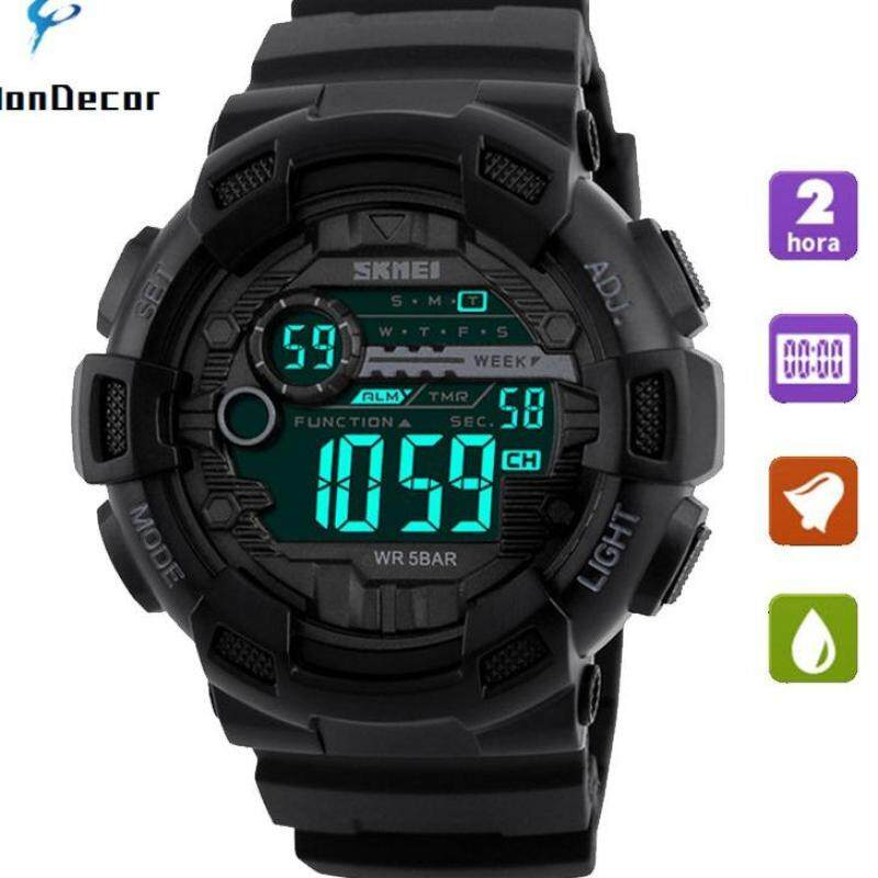 SKMEI 1243 Men Sports Watches 50M Waterproof Back Light LED Digital Watch Chronograph Shock Double Time Wristwatches - Black Malaysia