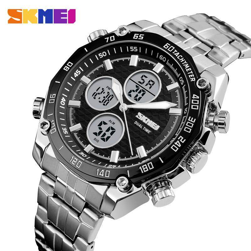 SKMEI Men Fashion Quartz Watch Dual Time Waterproof Stopwatch Business Watch Luxury Military Watch Jam tangan lelaki 1302 bán chạy