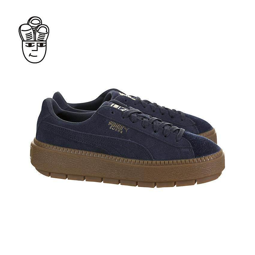 Puma Suede Platform Trace Velour Lifestyle Shoes Big Kids 36669603 -SH