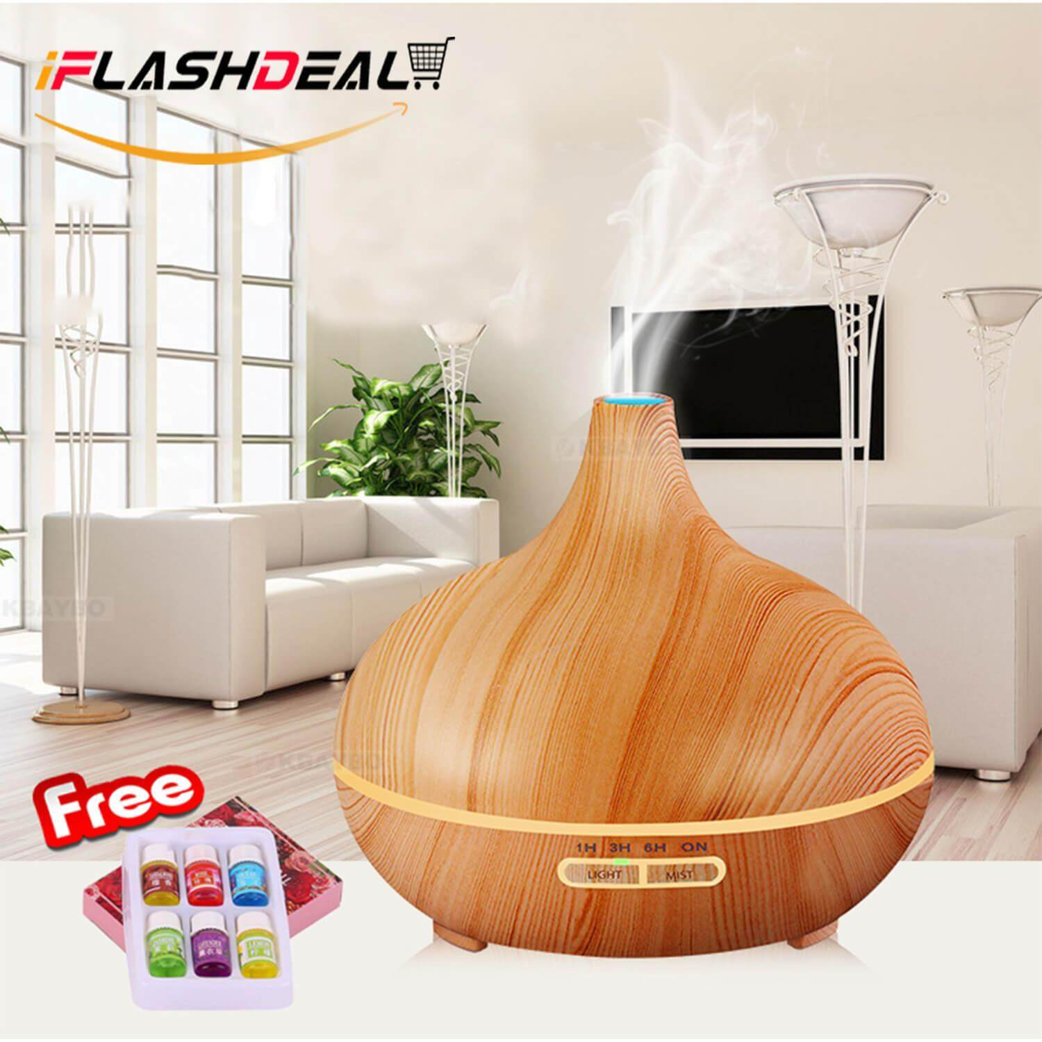 Iflashdeal Pembersih Udara Ultrasonic Aroma Diffuser Air Humidifiers Aromatherapy Essential Oil Diffuser Wooden Air Purifier Cool Mist Quite Design For Home Office Room 400ml By Iflashdeal.