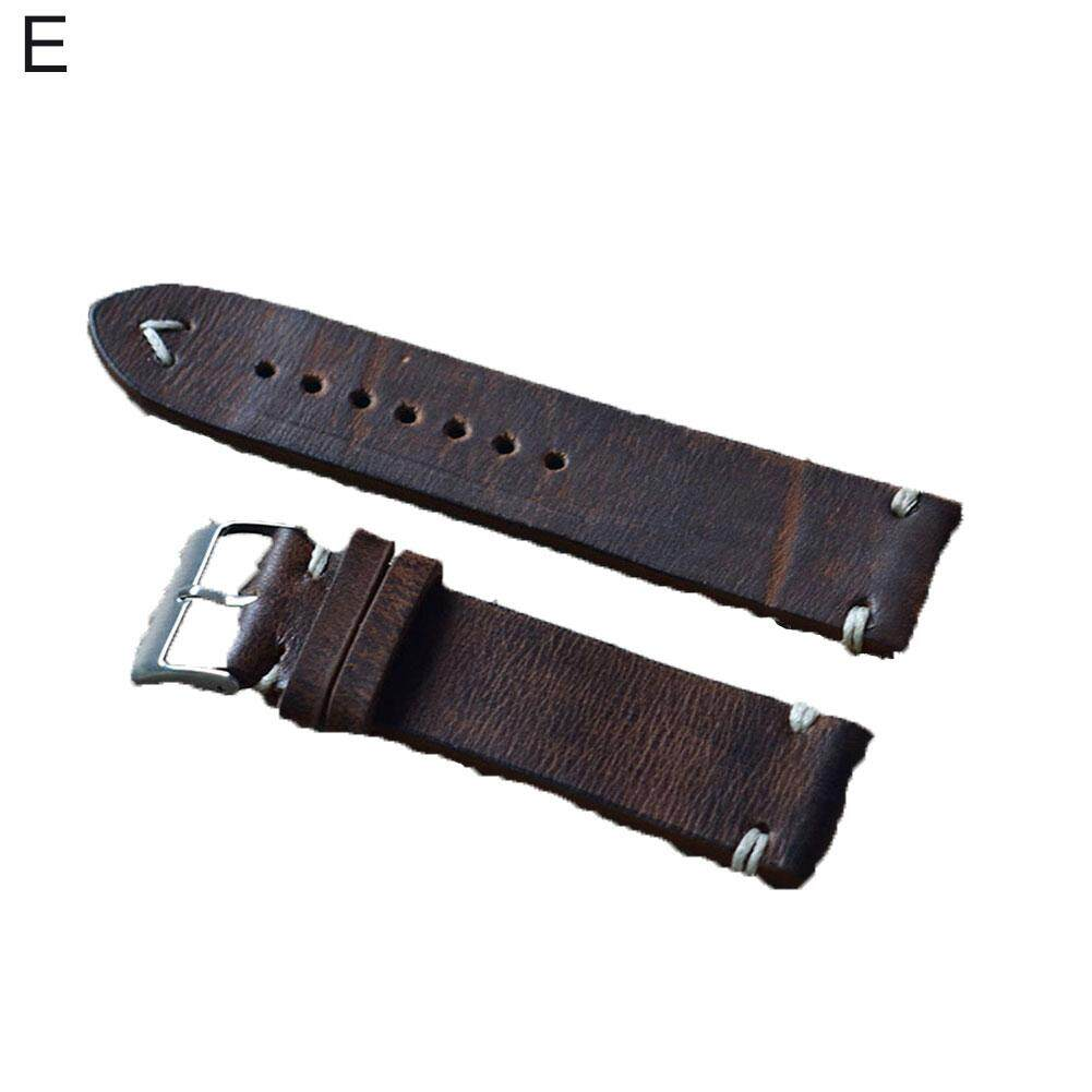 Sanwood® Vintage Women Men Replacement Genuine Leather Watch Band Stitching Bracelet 24mm Malaysia