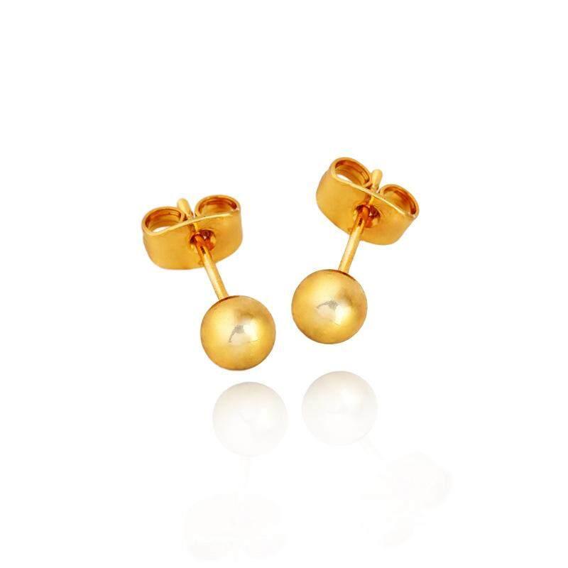 1 Pair Women Female Earrings Copper Plating Lady Round Ball Ear Studs - intl