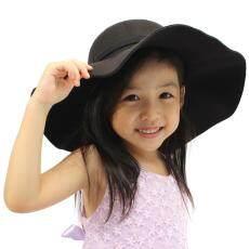 Kids Girls Boys Soft Felt Fedora Floppy Cloche Wide Brim Bowknot Bowler Hat  Cap 0f307fe6df