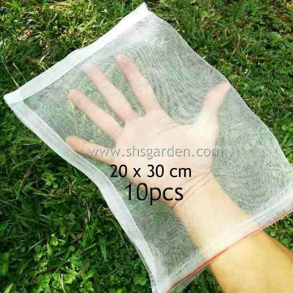 10 pcs Medium Garden Net (20x30cm) Nylon Fruit Mesh (bag) for Pest Control (Insects, fruit flies, caterpillars, birds, squirrels, rats, monkeys, cats) Jaring Membalut Buah Kebun Mencegah Lalat Buah dan Serangga Perosak