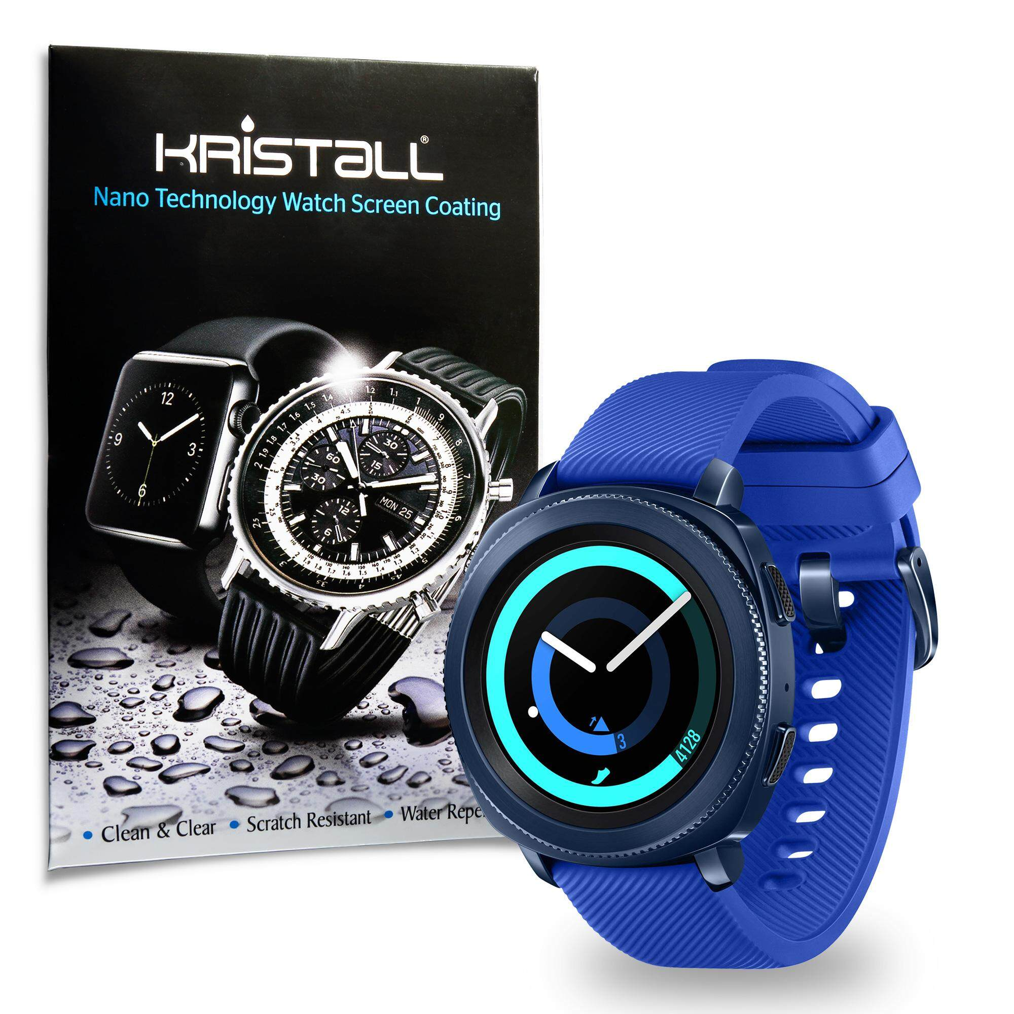 Samsung Gear Sport Screen Protector - Kristall® 9H Hardness Full Coverage Liquid Nano Coating Screen Protector for Smartwatches (Bubble-FREE Screen Protector, EASY to Apply, Edge-to-Edge Protection)