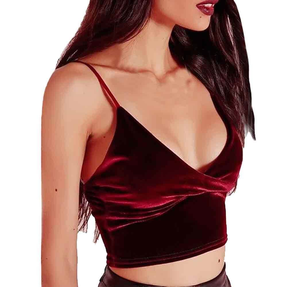 eb147f0d21 2019 GG Appealing Sexy Women V-neck Velvet Camisole Vest Bandage Backless  Crop Top