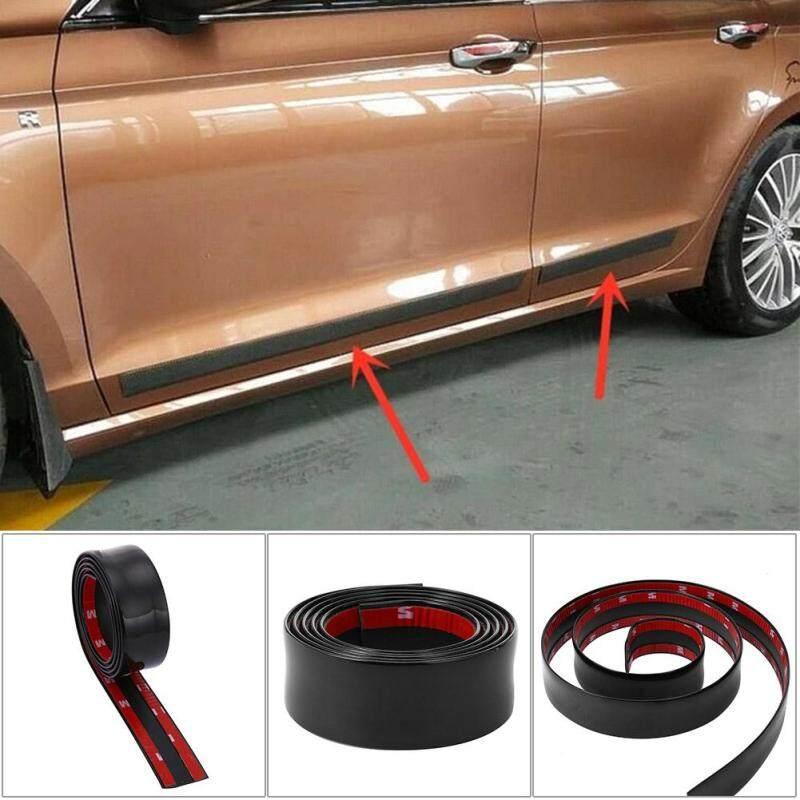 1m Front Bumper Strip Carbon Fiber Rubber Car Sticker Protector (Black 3cm)