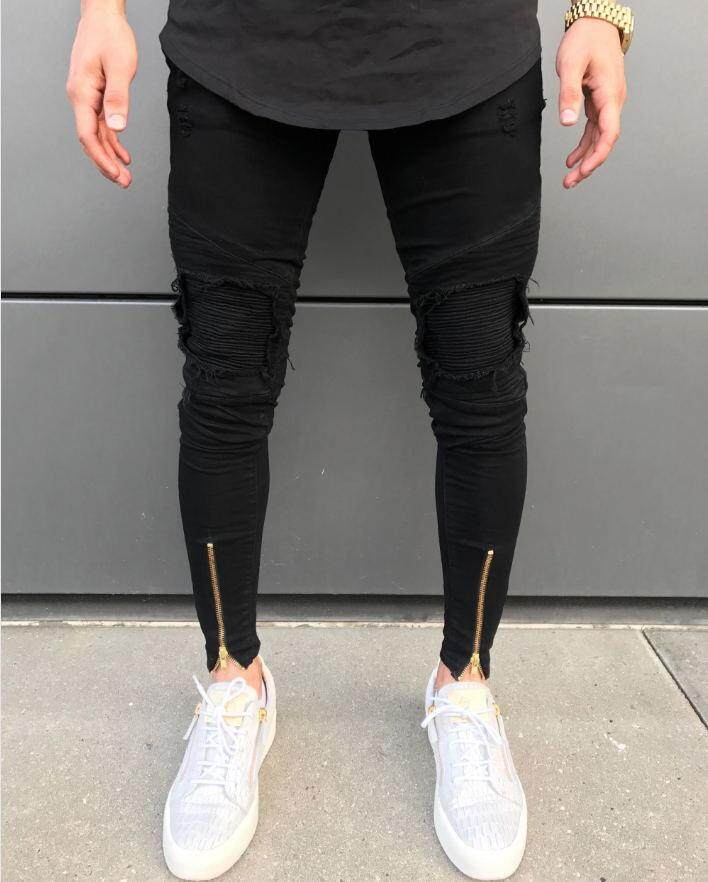 c1d83ae6 New Men Ripped holes jeans Zip skinny biker jeans black jeans with Pleated patchwork  slim fit