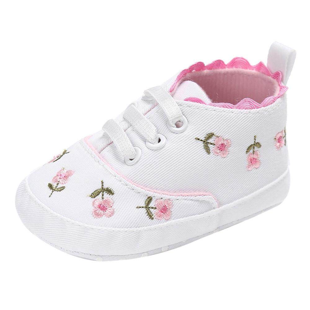 5fa83b41dbb93 RADOCIE Newborn Infant Baby Girls Floral Crib Shoes Soft Sole Anti-slip  Sneakers Canvas