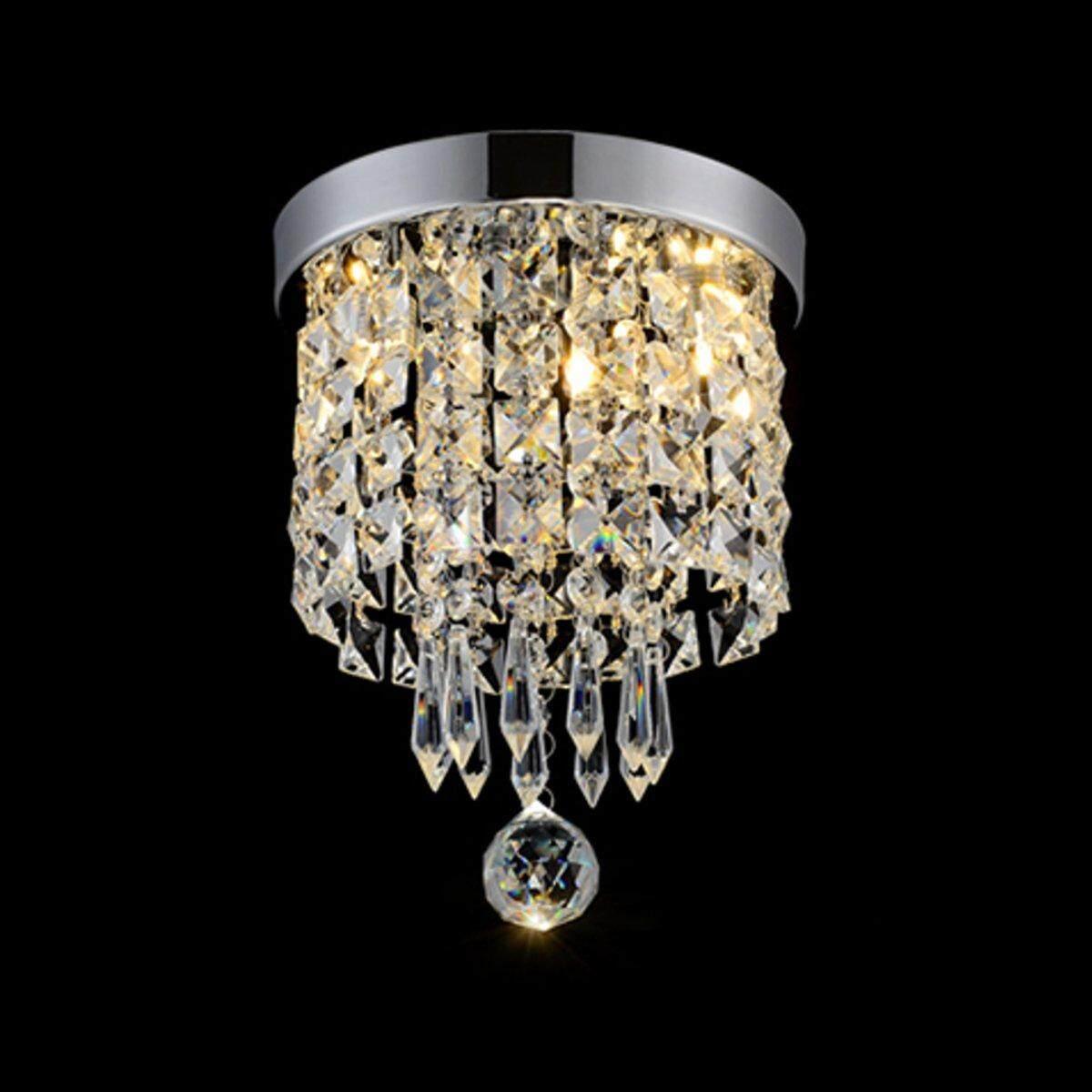 Elegant Chandelier Crystal Lamp Light Ceiling Pendant Mount Fixture Home Decor#Warm Light