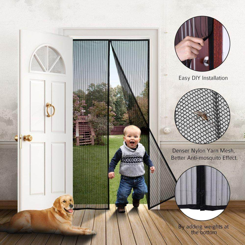 Magic Stick Magnetic Anti-Mosquito Full Frame Seal Mesh Screen Door Curtain 100*210cm By Lct.