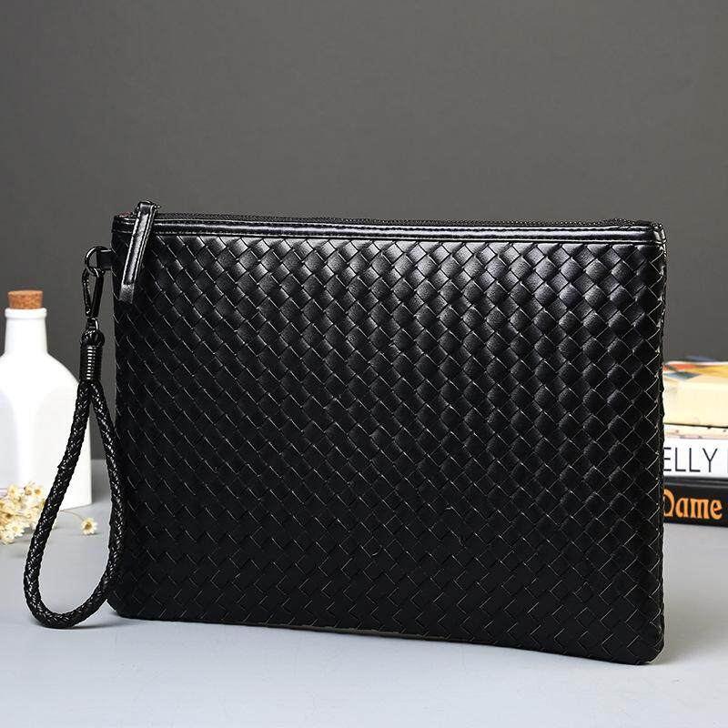 New Hot Sale fashion hand woven black Men hand capture Bag designer Practical mens hand riefcase good file packet Clutch bag mens wallet handle bag Waterproof wallet