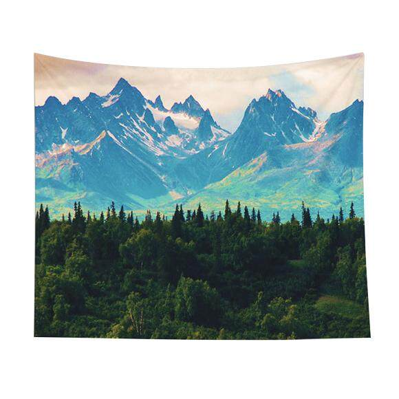 130x150cm Tapestry Home Decorative Polyester woods mountains sky Pattern Beach Towel Fashion Sofa Wall Decor - intl