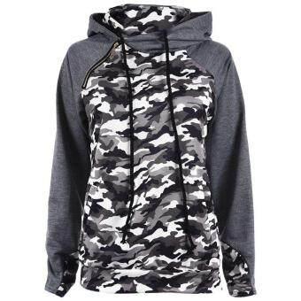 175588b3d การส่งเสริม Sweatshirts Women Fashion Camouflage Print Hoodie Pullover Tops  Winter Women Pocket Patchwork Hooded Shirts(Green
