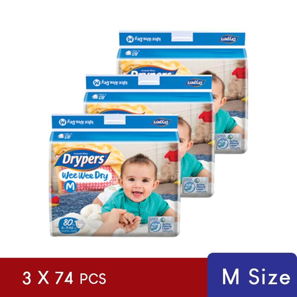 Drypers Wee Wee Dry Disposable Diaper Size M 3pack x 74pcs