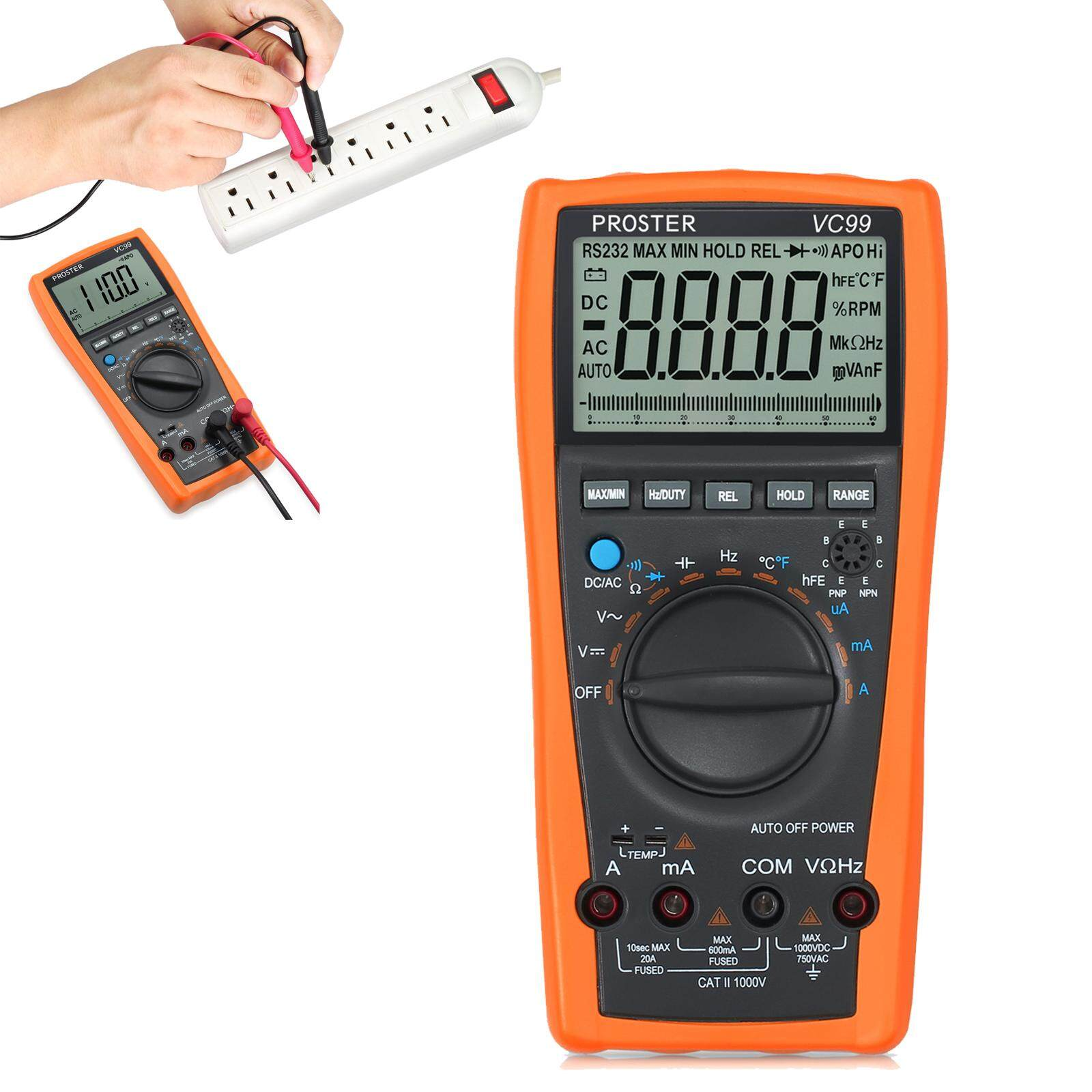 Features Lcd Multimeter Digital Tester Ohm C Dc Voltmeter Auto Ammeter Ac Circuit Checker Ranging Vc99 6999 5