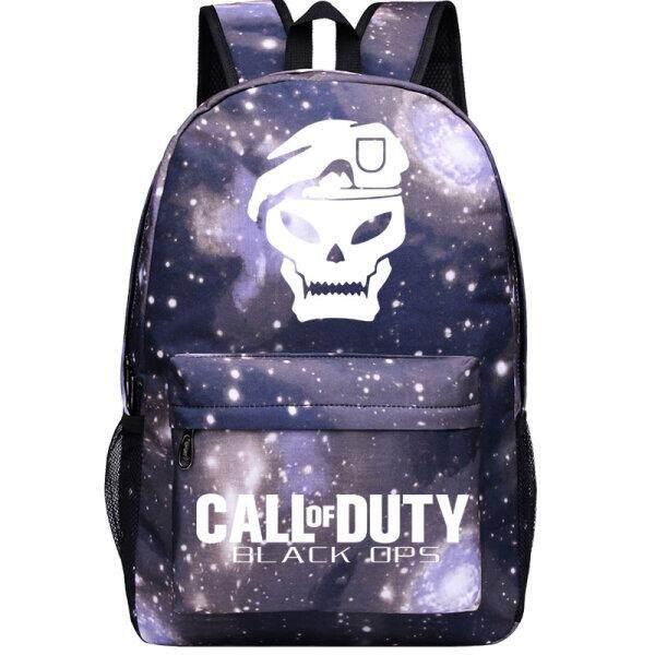 【Starry Grey Topi + OPS Word】luminous Reflektif Duty Call Tas Sekolah Permainan Peripheral Ransel Gambar Hantu Pria dan Wanita Kanvas Junior Siswa SMA Tas Bahu- internasional