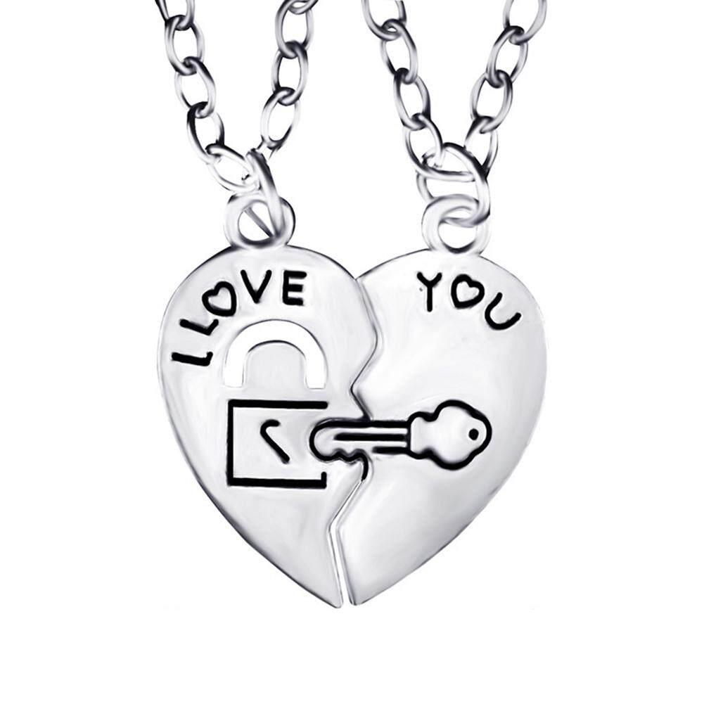Phoenix B2C Aku Cintai Hatimu Kunci Pasangan Kalung Liontin Perhiasan Kekasih Hadiah Cantik (Perak)-Intl
