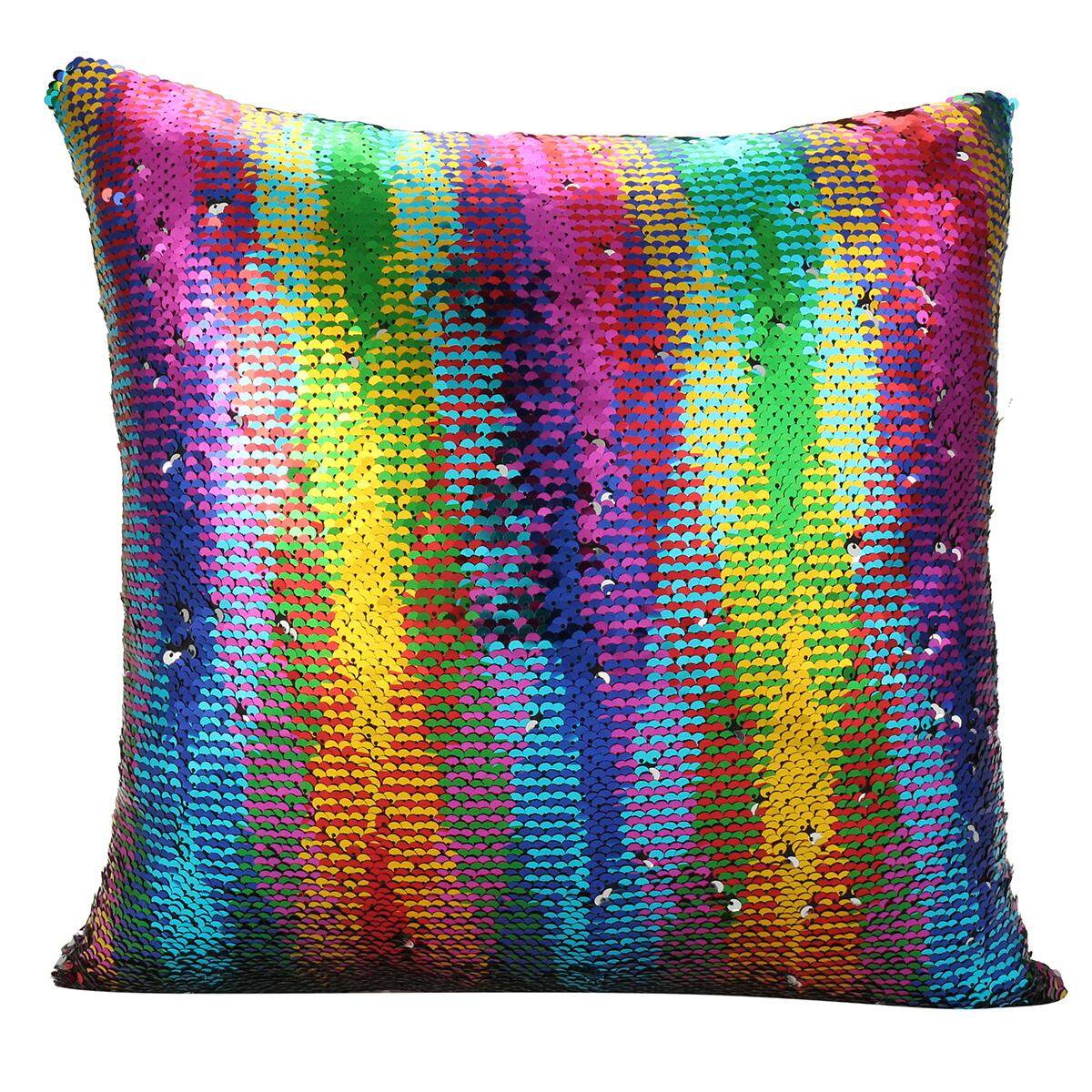 Reversible Mermaid Pillow Sequin Cover Glitter Sofa Cushion Case Double Color By Moonbeam.