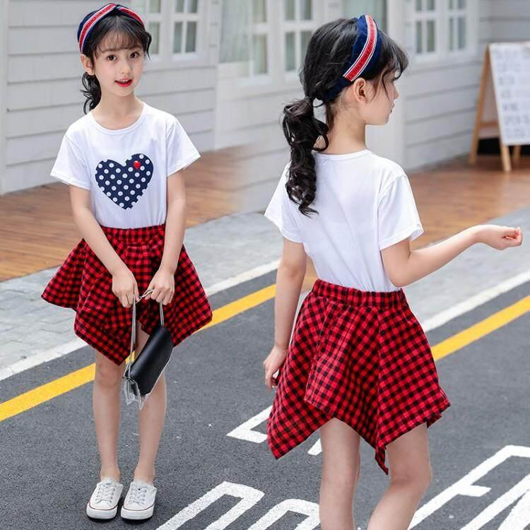 ... Fashion Gadis Gaun Baju Atasan + Rok Kotak-kotak 2 Pcs Baru Gaya Korea Baju ...