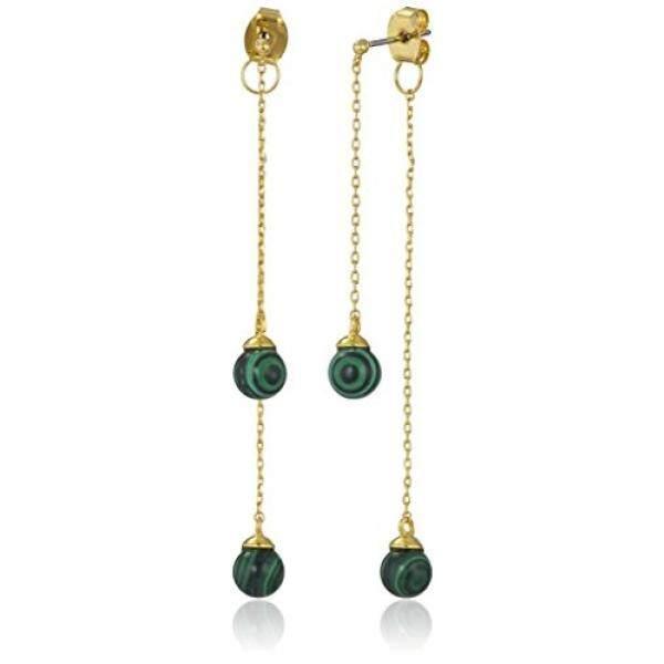 Noir Perhiasan Semi Precious Bola Depan Kembali Anting Bulat-Intl