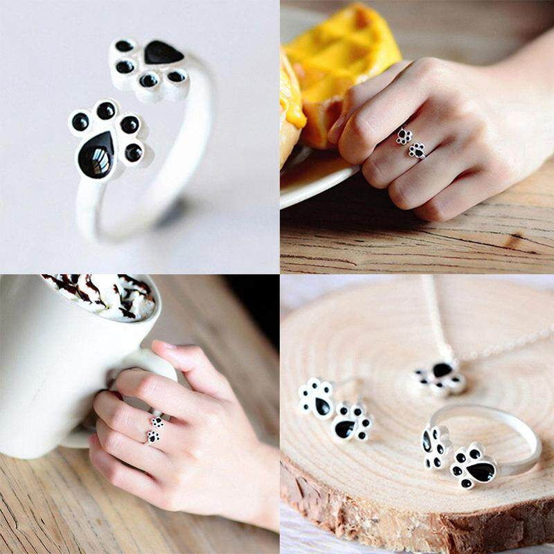 Weiyue Store free shipping Simple 925 Sterling Silver Plated Cat Claw Opening Ring .