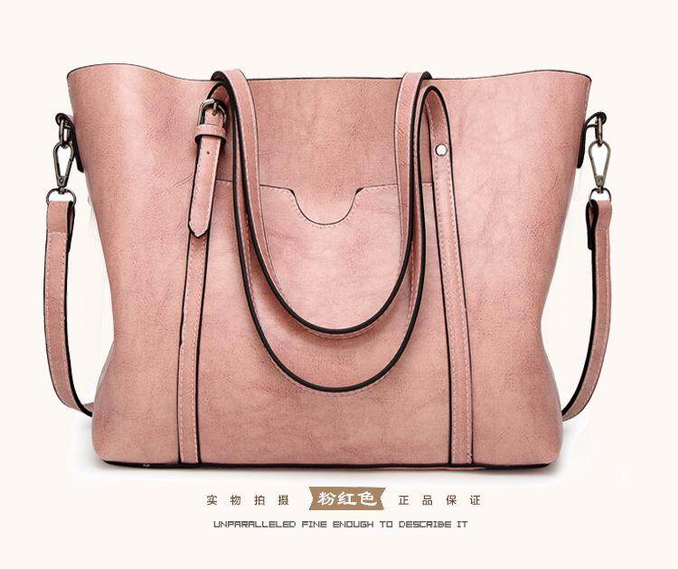 2018 New Handbag Fashion Simple Handbag Wild Solid Color Shoulder Bag Lady  Big Bag Europe and f86eeb54a4