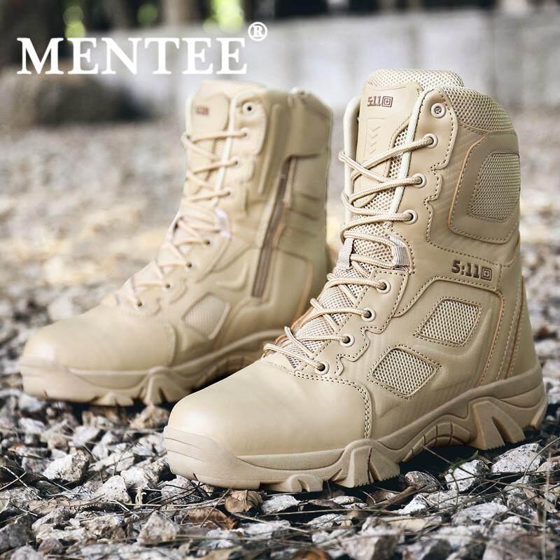 ฉันไม่อยากขนาด 39-47 ผู้ชายรองเท้าคอมแบทสำหรับเดินทะเลทรายรองเท้าบู๊ทส์ทหารยุทธวิธีกลางแจ้งบูทเท้าเดินป่าชายรองเท้าทำงาน By Mentee.