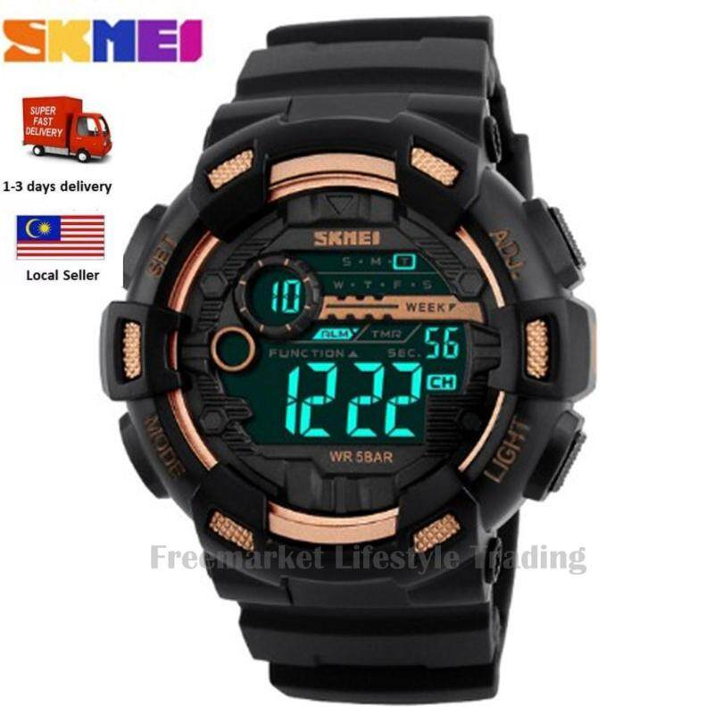 SKMEI 1243 Men Sports Watches 50M Waterproof Back Light LED Digital Watch Chronograph Shock Double Time Wristwatches - Gold Malaysia