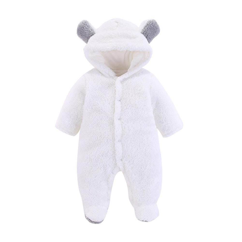 Rd Newborn Baby Warm Jumpsuit Unisex Cute Bear Ears Romper Long Sleeve Outfit By Redcolourful.