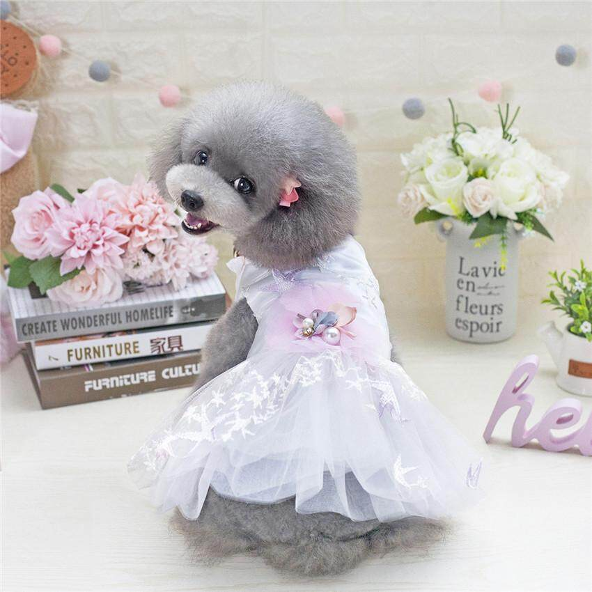 Hình ảnh Summer Dog Dresses Spring Starfish Skirt Princess Style Flower Mesh Wedding Dresses Clothing For Pet