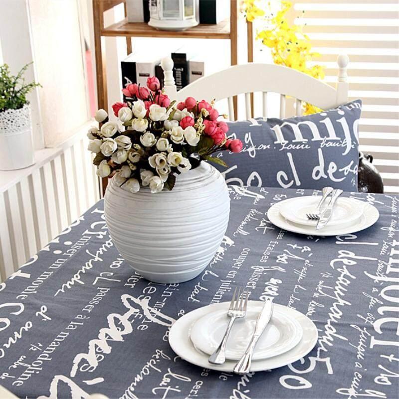 60*60 Cm Tebal Kapas Taplak Meja Abu-abu Huruf Gambar Vintage Penutup Meja Makan untuk Dekorasi Dapur Rumah-Internasional