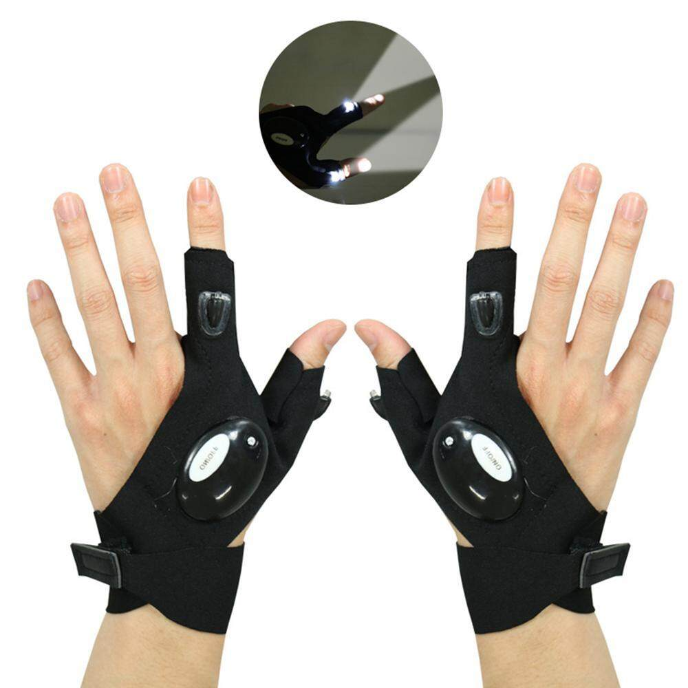 Leegoal 1 Pair Led Flashlight Gloves With 2 Led Lights For Repairing And Working, Outdoor Activities, Rescue, Sporting, Fishing, Camping, Hiking, Handy Mechanic Tool By Leegoal.