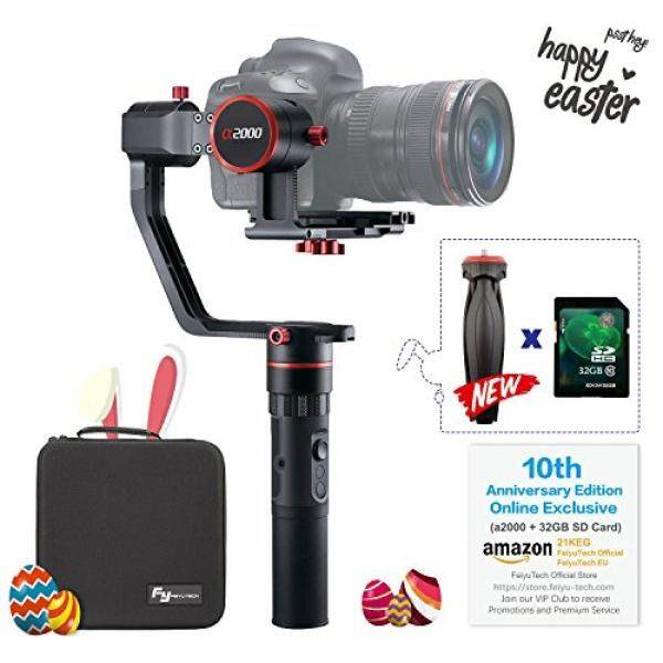 FeiyuTech a2000 3-Axis DSLR Camera Gimbal,Upgrade version, Payload Upgrade to 250-2500g, Compatible with NIKON/SONY/CANON Series Camera and lens, Come with Carrying Case & 32 GB SD Card