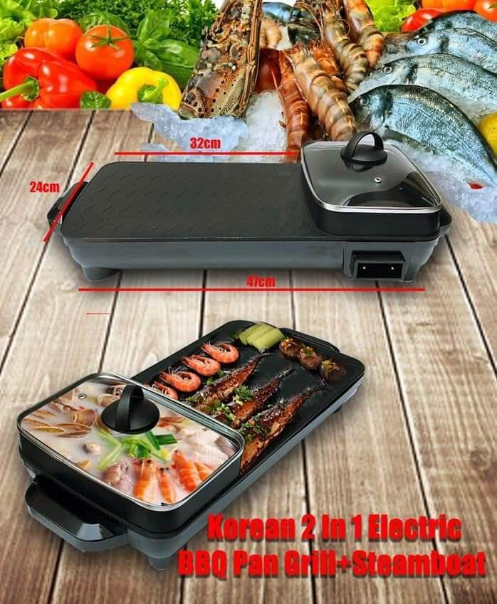 【New】2 in 1 Multifunction BBQ Electronic Pan Grill Teppanyaki & Steamboat Hot Pot Shabu Roast Fry Pan 乐滋滋