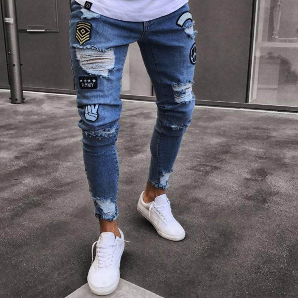 f58b663005f52 Hopeu Destroyed Denim Patches Mens Skinny Jeans Rip Slim Fit Stretch  Distress Frayed Biker Legging Pants