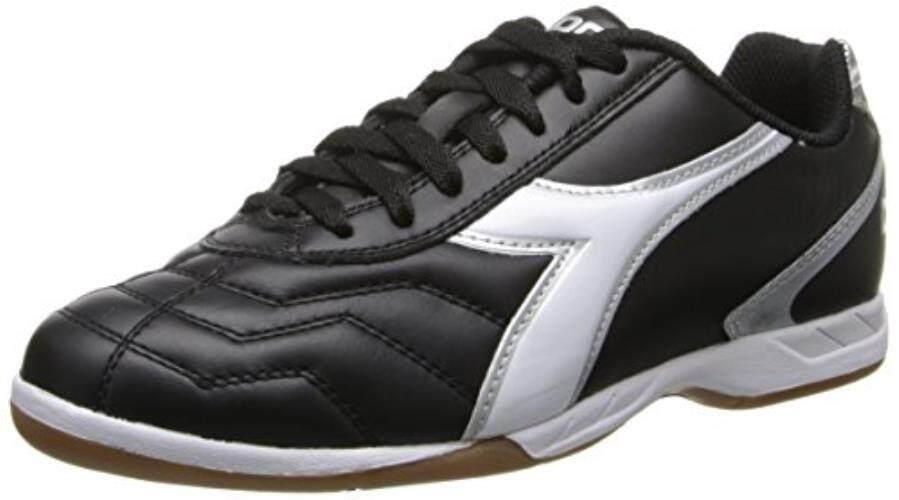 Diadora Pria Capitano LT Sepatu Sepak Bola Dalam Ruangan, Hitam/Putih, 6.5 M US-Intl