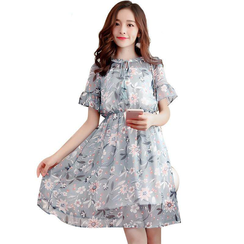 Summer new Korean ladies floral chiffon dress fashion casual loose round neck dress