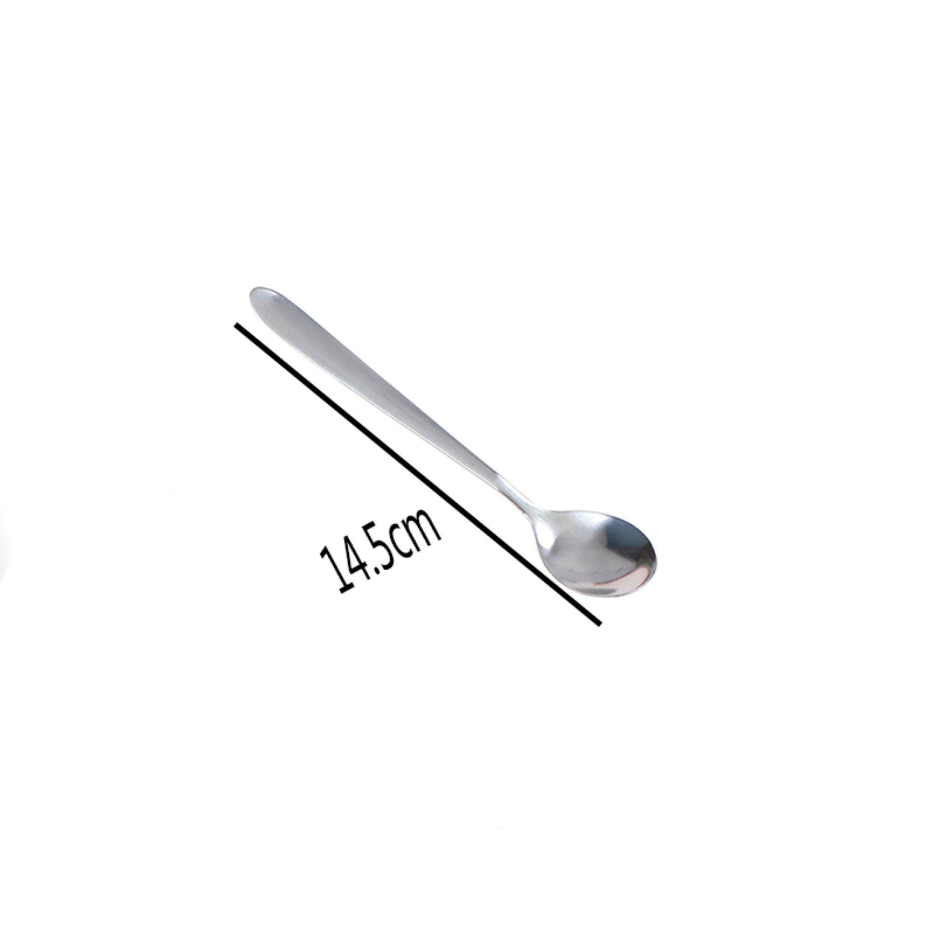 Long Handle Ice Cream Stainless Steel Tea Coffee Spoons Latte Dessert Sundae 16cm - intl