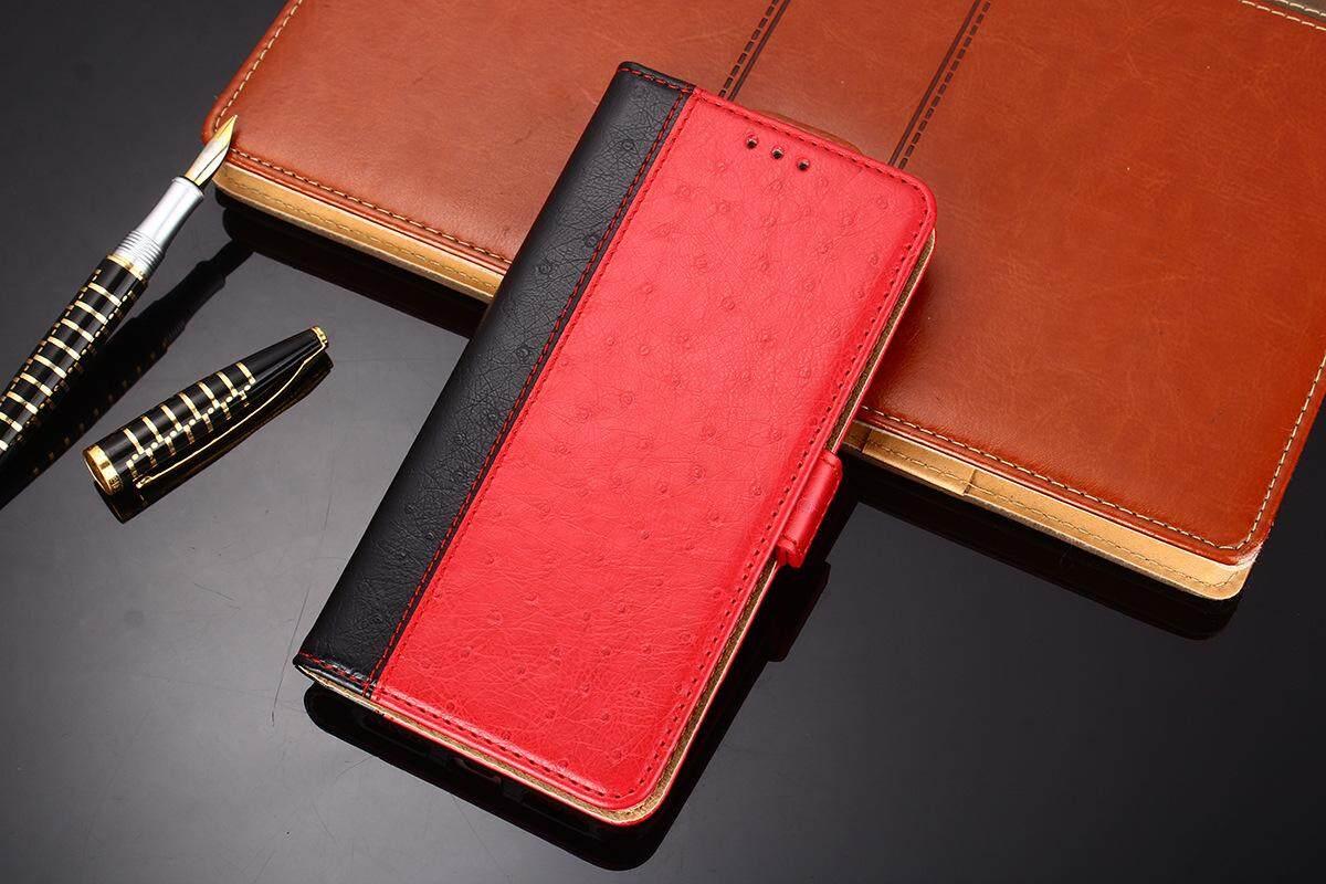 K'try Sarung Selular untuk Nokia X6 Mulia Burung Unta Pola Flip Telepon Seluler Kasus Kartu Penutup Paket 3 In 1 (TPU + PU + Kulit) case Kulit