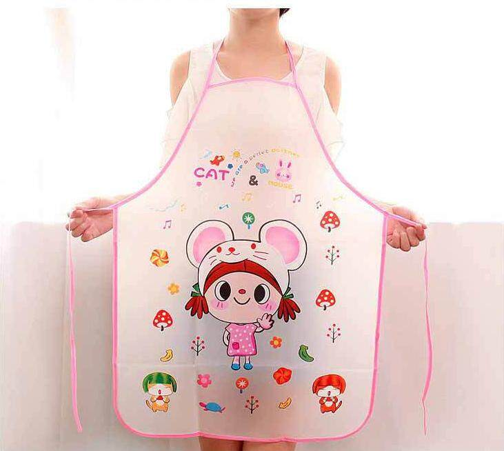 ... Celemek Dengan 2 Kantong Chef Pelayan Dapur Masak Hitam Alat. Source · Cartoon Cute Translucent Apron Cooking Bib Dress Women Kitchen Little Girl - intl
