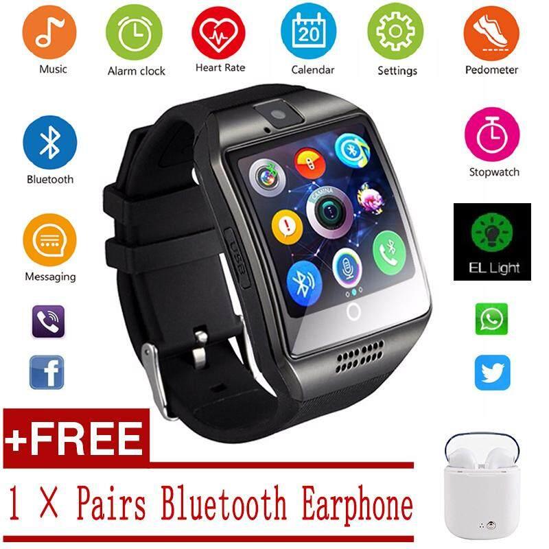 [Get 1 Pasang Bluetooth Earphone] V8 Jam Tangan Pintar Nirkabel Bluetooth Pengingat Monitor Anti-Lost Kamera untuk IOS Android PK Apple Watch samsung Watch Jam Tangan Huawei Y1 Menonton DZ09 GT08 M26 A1 U8