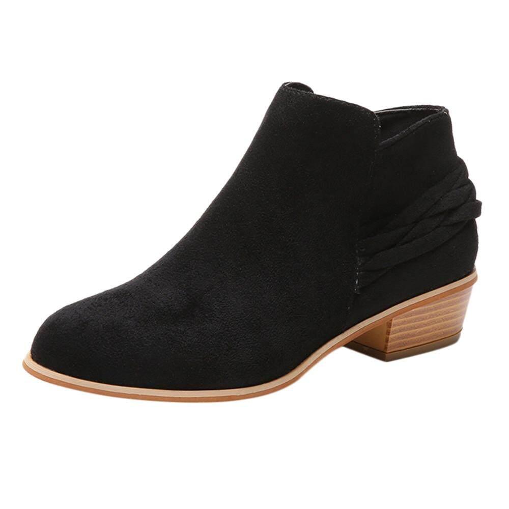 Joomia Sepatu untuk Wanita Wanita Fashion Pergelangan Kaki Rajut Solid Kawanan Sepatu Martin Boot Pendek Sepatu