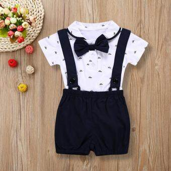 Free shipping Dotsonshop 2PCS Baby Infant Boys Short Sleeve Romper Clothes + Toddler Pants Set Outfits