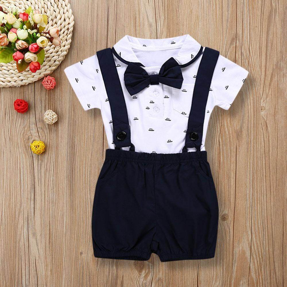 f442b2c99d8a Dotsonshop Free shipping 2PCS Baby Infant Boys Short Sleeve Romper Clothes  + Toddler Pants Set Outfits